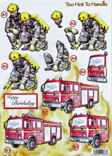 Firemen & Fire Engine Die Cut 3d Decoupage Sheet From Craft UK Ltd
